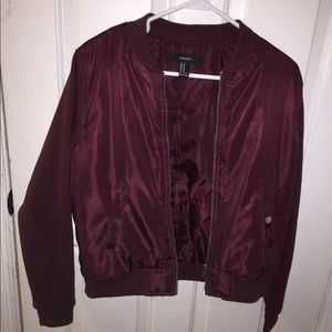 Beautiful maroon bomber jacket